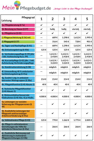 Übersicht mit allen Pflegeleistungen 2017 zu 2016